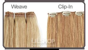 Hairweave typen: Normaal Weave en Clip-In.