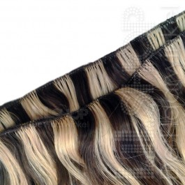 Brazilian Hair 70cm Duokleur 6 Donkerbruin en 20 Lichtblond skinweft handgeweven.