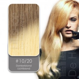 Shatush Line Ombre Dip Dye Extension 10/20 Donkerblond / Lichtblond van Euro SoCap. Dip Dye hairextensions van Remy-kwaliteit.