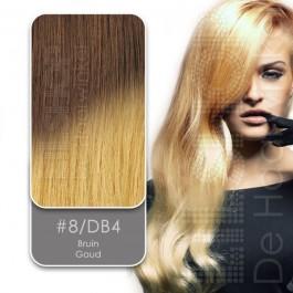 Ombre Dip Dye Extension 8/DB4 Bruin / Goud van Euro SoCap. Dip Dye hairextensions van Remy-kwaliteit.