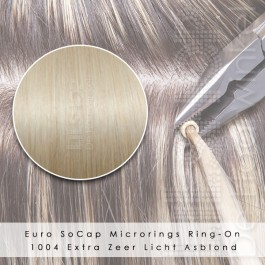 Ring-On Microrings Hairextensions in 1004 Extra Zeer Licht Asblond