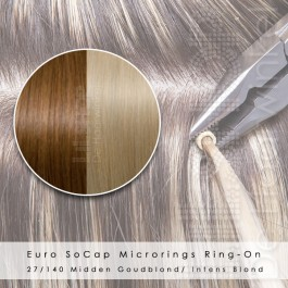 Ring-On Microrings Hairextensions in 27/140 Midden Goudblond / Intens Blond