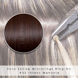 Ring-On Microrings Hairextensions in 32 Intens Mahonie