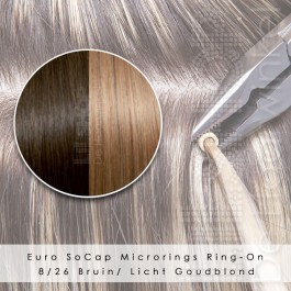 Ring-On Microrings Hairextensions in 8/26 Bruin / Licht Goudblond
