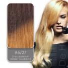 Shatush Line Ombre Dip Dye Extension 6/27 Chocoladebruin / Midden Goudblond van Euro SoCap. Dip Dye hairextensions van Remy-kwaliteit.
